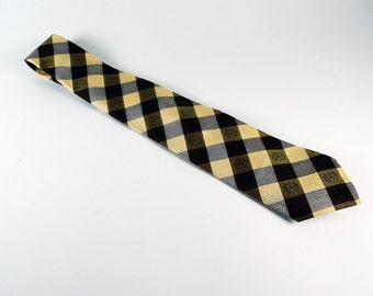 Gorgeous mid century yellow and brown checked tie