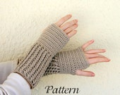 Adult mid-length fingerless gloves PDF crochet  PATTERN women men small medium large ribbed mitts thick warm winter accessory