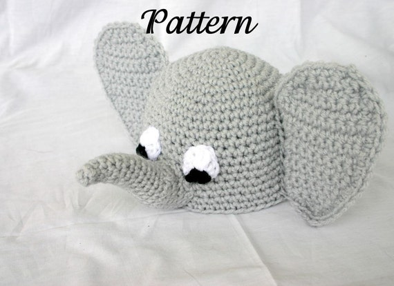 Crochet Pattern For Baby Espadrilles : Baby elephant hat PDF Crochet PATTERN 0-6 months beanie infant