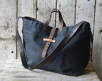 Large Waxed Canvas Tote Bag in Coal, Waxed Canvas Crossbody Bag, Waxed Canvas Diaper Bag, Waxed Canvas Handbag, Waxed Canvas Purse, For Him