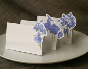 Delphinium  Blue and Purple Flowers- wedding - Place Card - Gift Card - Table Number Card - Menu Card -weddings events