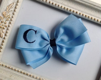 Light Blue Monogrammed Bow with Navy Initial by Cheryl's Bowtique