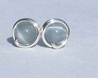 Tiny Ice Grey Cats Eye Stud Earrings (5mm), Cats Eye Stud Earrings, Wire Wrapped Sterling Silver Stud Earrings, Little Gray Stud Earrings