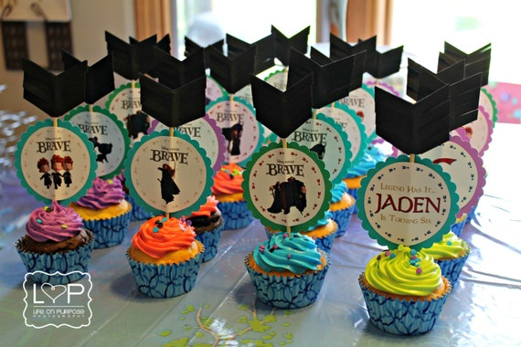 Brave Birthday Party Cupcake Toppers