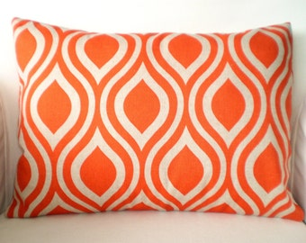Orange Pillow Cover, Lumbar Throw Pillows, Decorative Cushion Covers, Orange on Darker Natural Nicole Couch Bed Sofa, One 12 x 16 or 12 x 18
