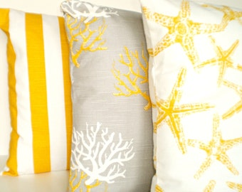 Yellow Nautical Throw Pillow Covers, Decorative Pillow, Cushion Covers, Yellow Gray White Stripes Starfish Coral Combo Set of Three 16 x 16