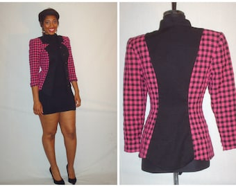Vintage 1980s Pink & Black Checkered Blazer Jacket
