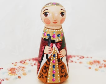 St Irene of Thessalonica Catholic Saint Toy - Wooden Doll - Made to Order