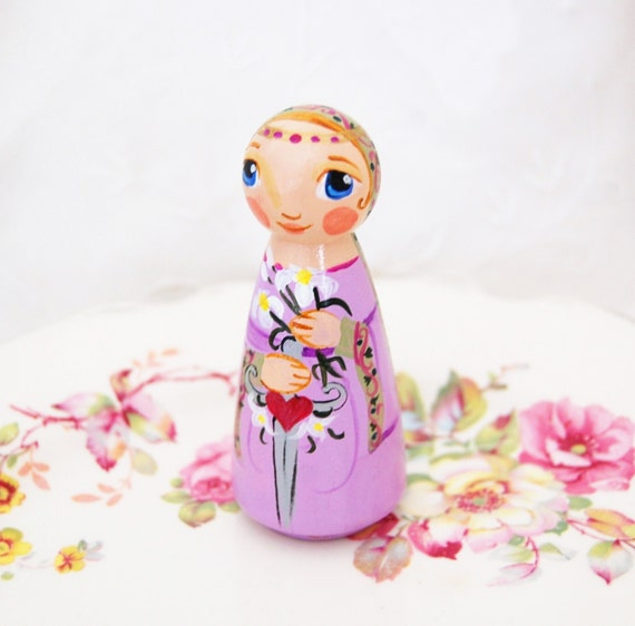 Saint Victoria Catholic Saint Doll - Wooden Toy - Made to Order