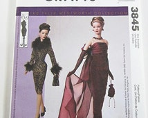 Doll Clothes Pattern - McCalls 3845 - Evening Gown or Short Dress,  Jacket, Bags and Gloves - Tyler Wentworth - for 16 Inch Tonner Dolls