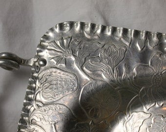 Vintage Aluminum tray with handles Embossed Motil floral fruit