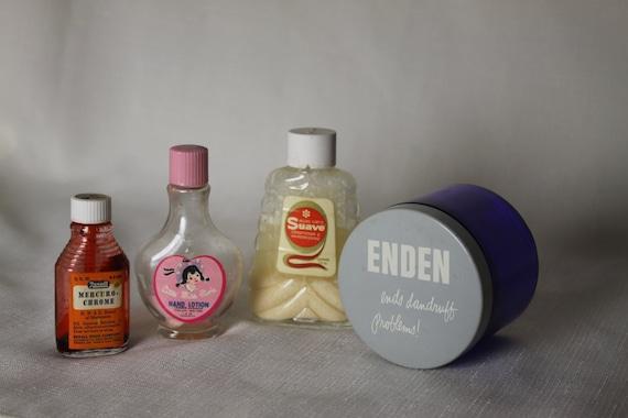 4 Vintage Product Bottles Jars Mercurochrome Suave Enden Little Miss Pixie