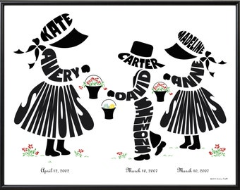 Personalized Big Sister to Twin Brother and Sister Print, Fraternal Twin Gift, Brother and Sisters Art