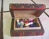 Little Wooden box of ''WORRY DOLLS'' Hand made in Poland-12 Tiny dolls in box. Superstition Inspired