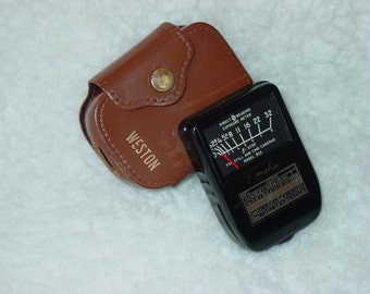Vintage Weston Light Meter Model 853 with Brown Leather Case