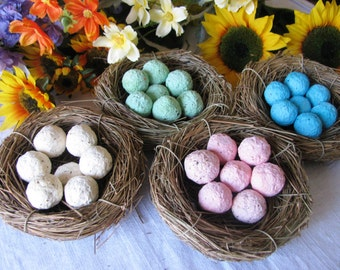 20 Bird's Nest Seed bomb favors- eggs are plantable paper seed balls- custom colors available