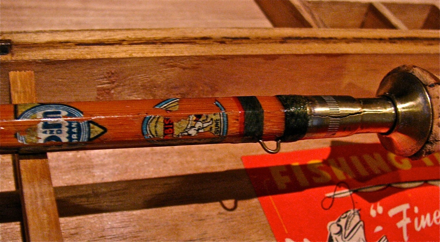 Vintage Bamboo Fly Fishing Rod Amp Wooden Box By