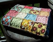 handmade country cottage double sided baby or lap rag quilt