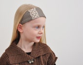 Reversible Lace and Brown Fabric Headband
