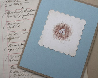 Eggs in Nest Greeting Card, Glittered Robins Egg Blue Eggs, Any Occasion Handmade Card