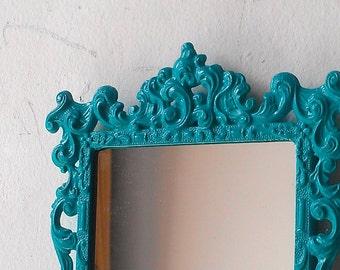 Turquoise Regency Mirror in Small Vintage Metal Frame