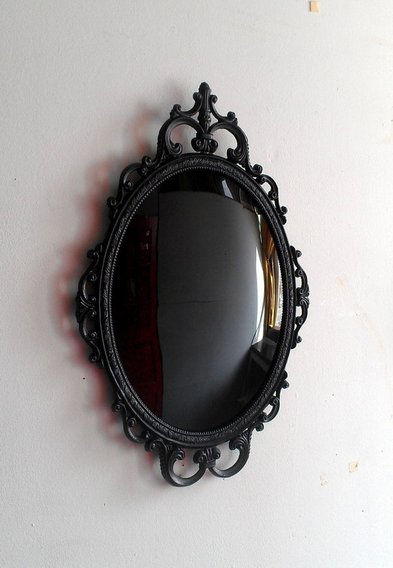 Large Scrying Mirror In Vintage Oval Frame By