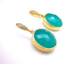 gold plated brass framed teal blue mint opal oval quartz and gold sterling silver hook cubic zirconia earrings christmas bridesmaid gift