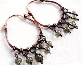 Hoop Earrings, Antiqued Copper Jewelry, Gray Glass Beads, Wire Wrapped Earrings