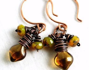 Beaded Earrings, Wire Wrapped Jewelry, Antiqued Copper, Amber Glass, Spade Beads