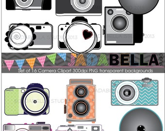 Instant Download Set of 16 Camera Clipart  8 black and white 8 coloured PNG 300dpi hi res files