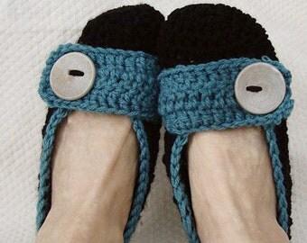 Crochet Slippers Womens Flats in Black and Aqua