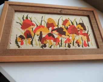 vintage 60s  70s, needlepoint, primitive wood framed picture of  mushrooms, mod, modern era,
