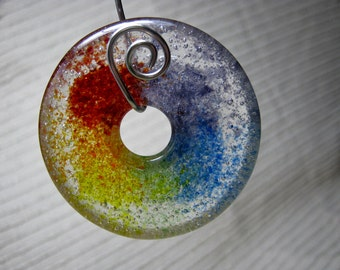 MADE TO ORDER Double Rainbow Meditation Pendant / Large Round Donut Focal Bead  Jewelry Making supplies / Kiln Cast Glass