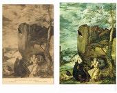 2 Vintage Spanish Postcards - St Anthony and St Paul - Europe - Art Cards - Velazquez
