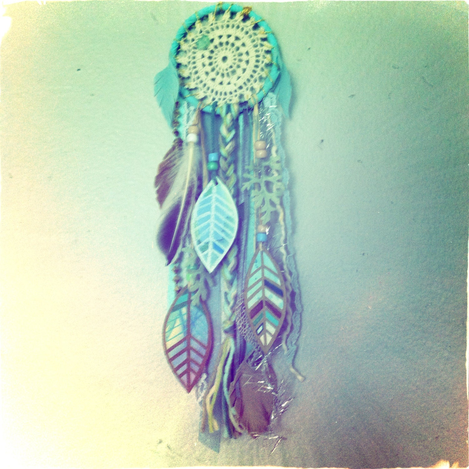 Aqua Dream Little Dreamcatcher with watercolor feathers and