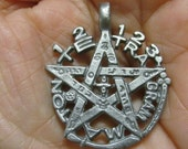 Very Rare Unusual Silver Medal PROTECTION TALISMAN Pentagram with the name of God TETRAGRAMMATON Used for Spiritual defense pendant