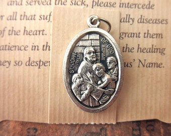 Two St. John silver Christian medals -  heart disease, sick, saint, holy, charms, religious, made in Italy