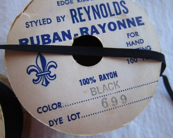 rare vintage ribbon - 10 yards x 5mm - BLACK - rayon