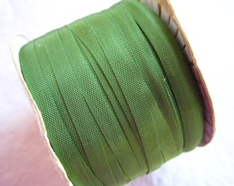 rare vintage ribbon - 5 yards x 5mm - PISTACHIO green - rayon