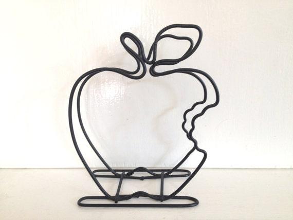 Bitten apple shaped wire letter holder fruit kitsch storage