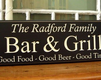 Bar sign . Bar and Grill Sign Carved with Family Name Last Name Sign Fathers Day