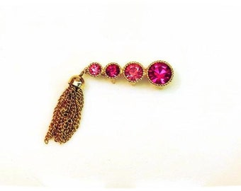 Sarah Coventry Saucy Pink Rhinestone Bar Pin Gold Tassel