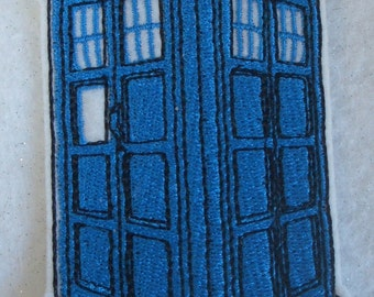 embroidered Dr. Who Tardis iron on patch