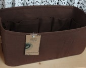 Purse insert ORGANIZER Shaper / 14.5 x 7 x 7 / Sturdy / BROWN / Fits LV Neverfull Gm / With stiff wipe-clean bottom / Ready to ship