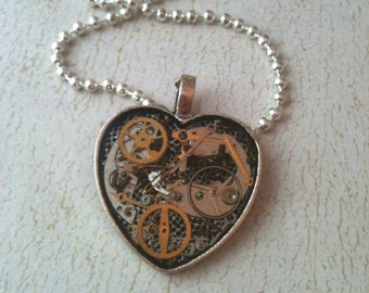 Small Clockwork Clutter Antiqued Silver Heart Necklace