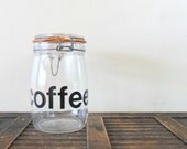 vintage french lowercase helvetica type coffee canister - jar - container - typographic