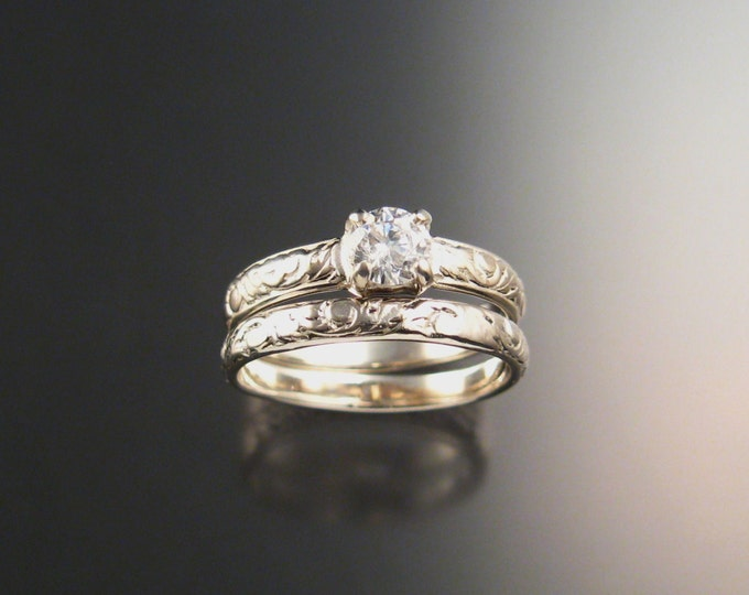 White Zircon Wedding set Sterling Silver Diamond substitute two ring set made to order in your size Victorian floral pattern band