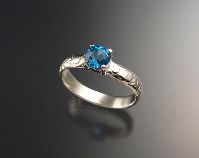Blue Topaz Wedding ring 14k White Gold made to order in your size