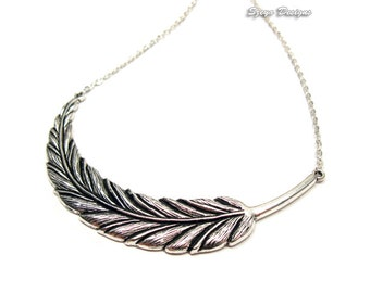 Fallen Feather Necklace - stainless steel chain victorian steampunk jewelry angel wing necklace long leaf necklace gothic necklace punk goth