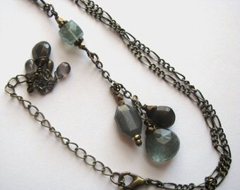 Moss Aquamarine, Grey Moonstone and Dark Grey Cat's Eye Sillimanite Necklace